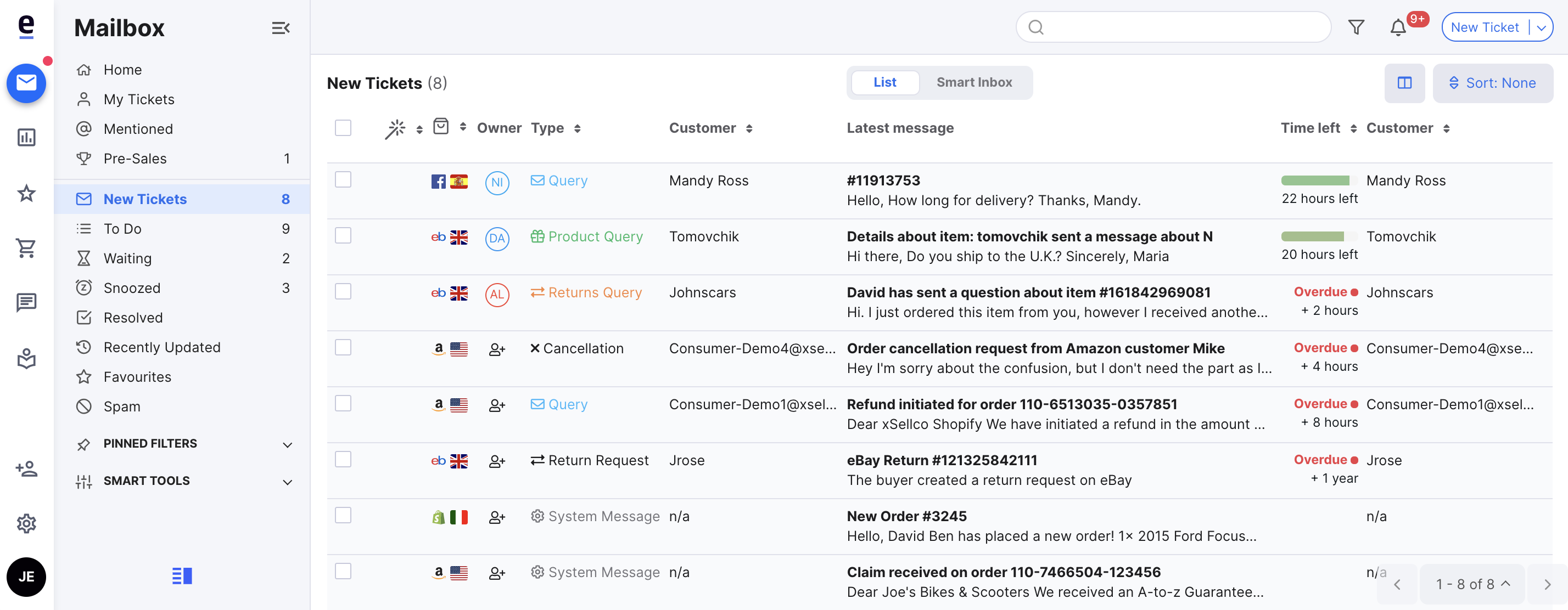 The New Messages part of your Mailbox