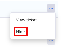Click ellipsis and select Hide from menu