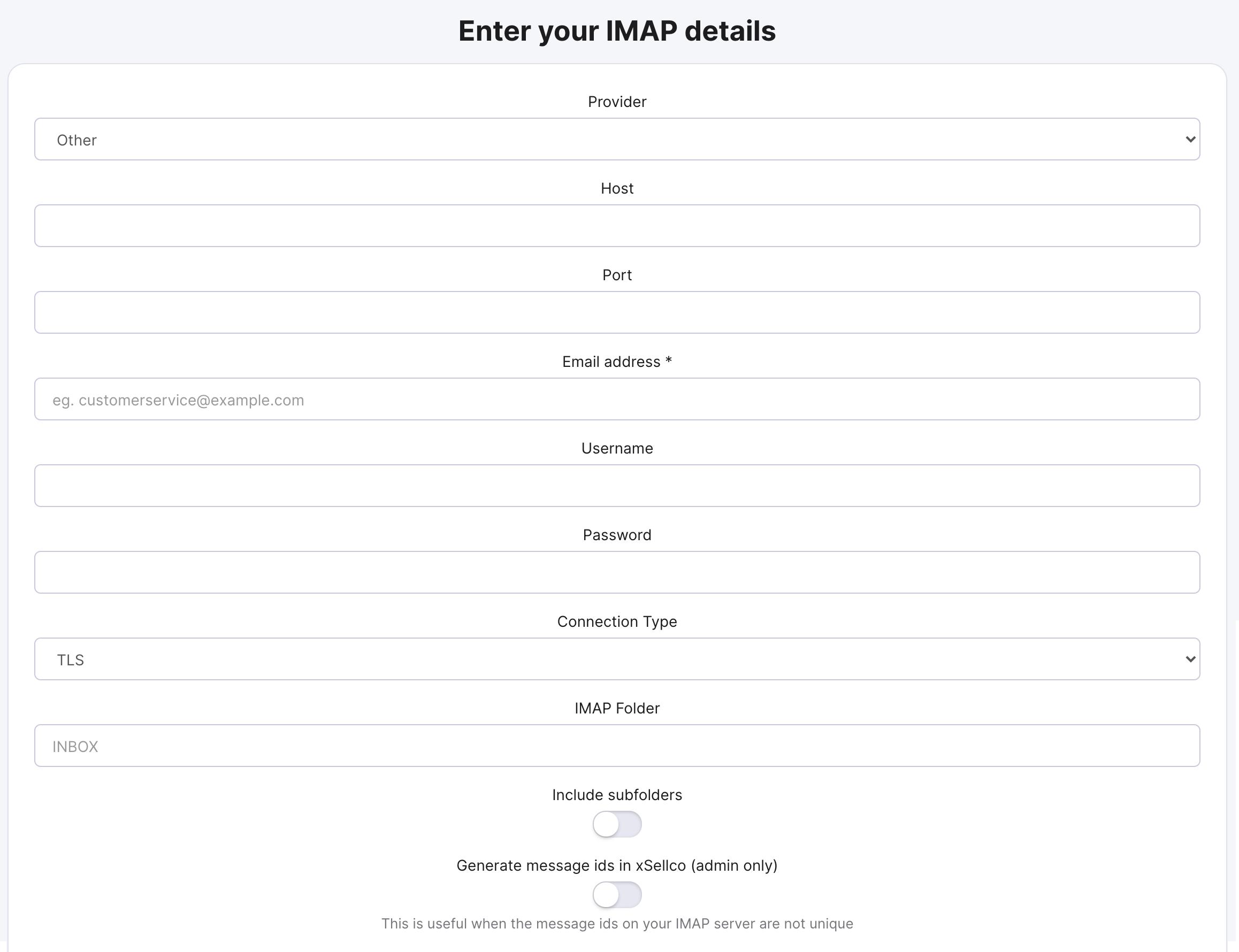 Enter your IMAP details form