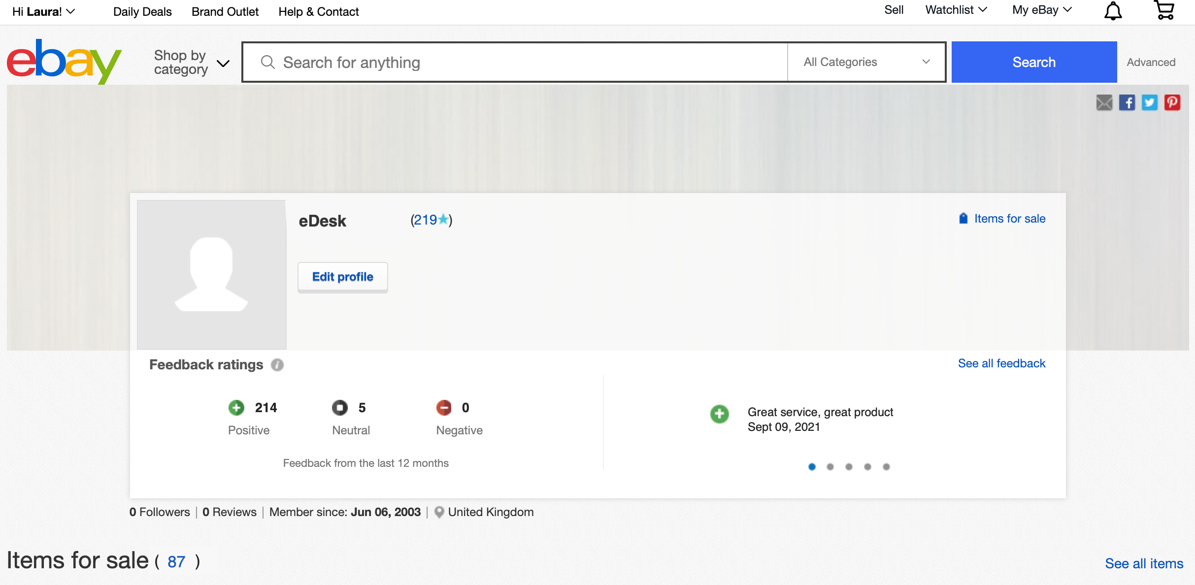 Your feedback on eBay