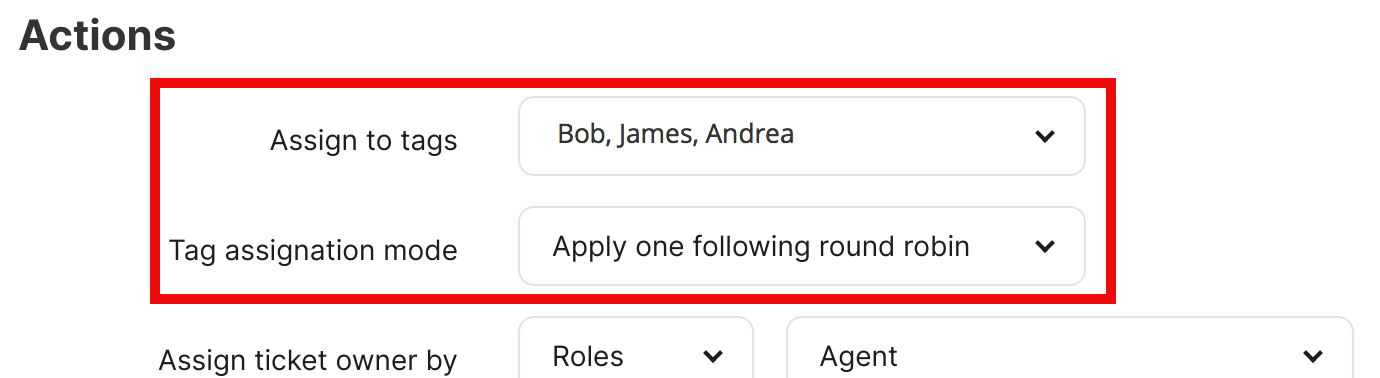 Assign to tags field and Tag assignation mode field