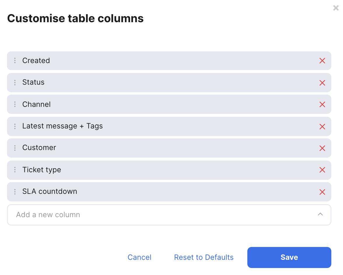 Choose columns popup window