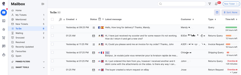 Mailbox showing default columns