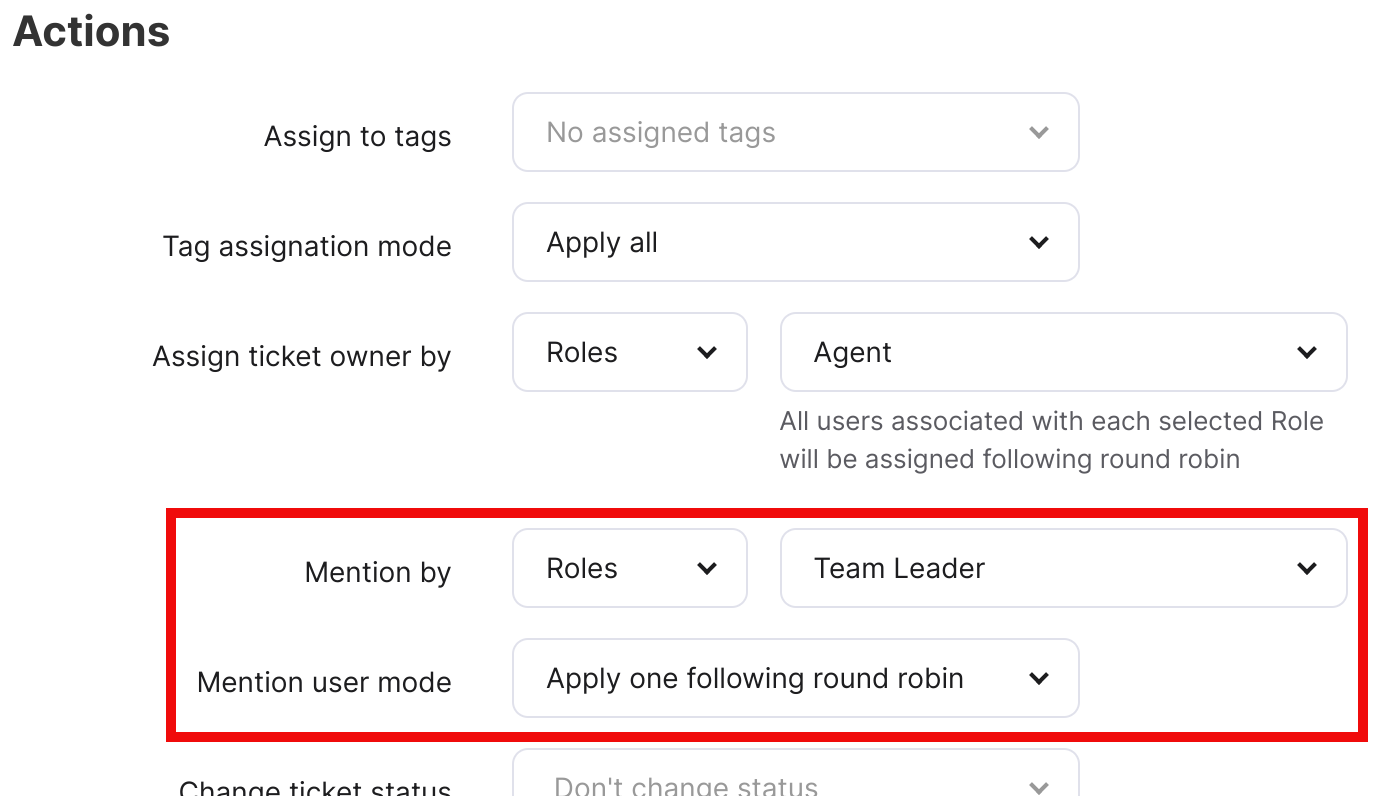 Mention by field and Mention user mode field