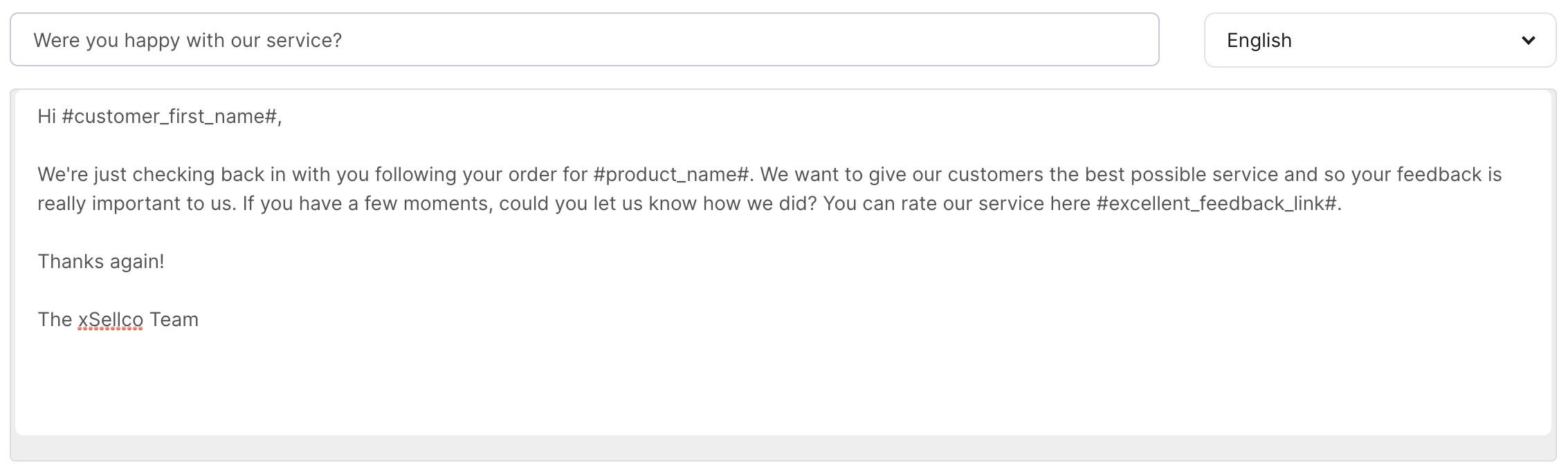 New feedback message using snippets