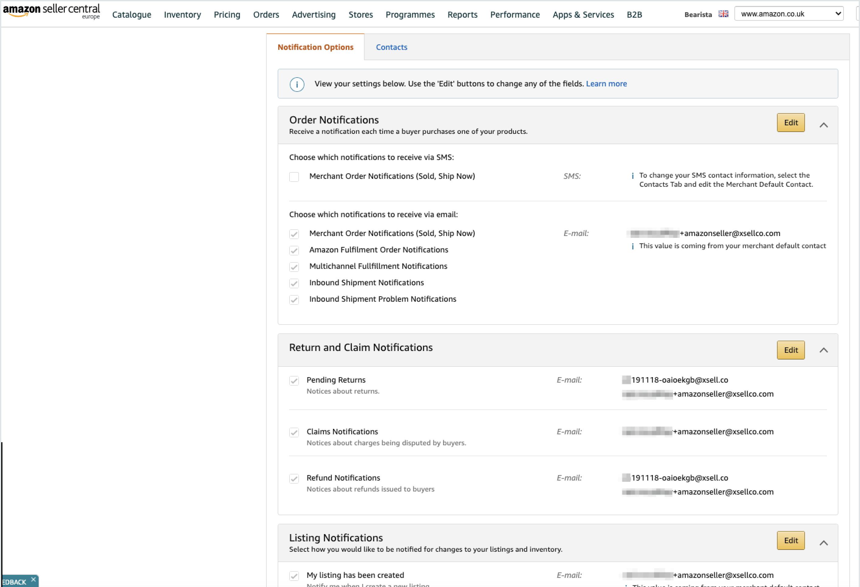 Amazon settings page
