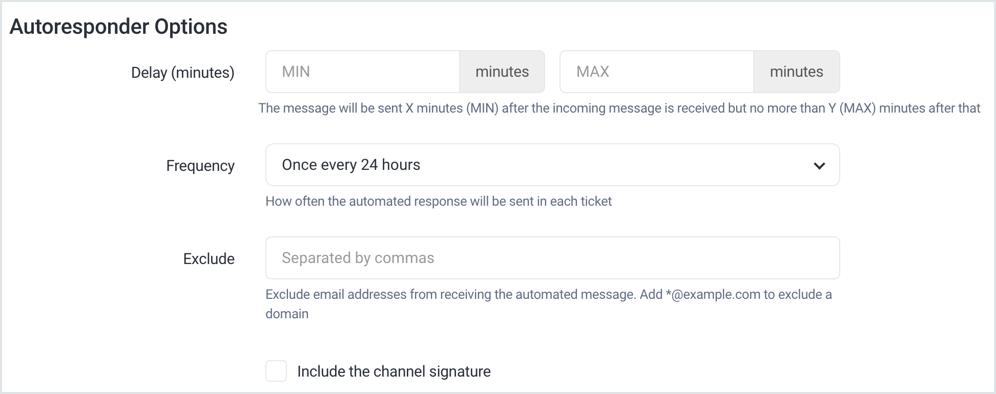 Autoresponder fields