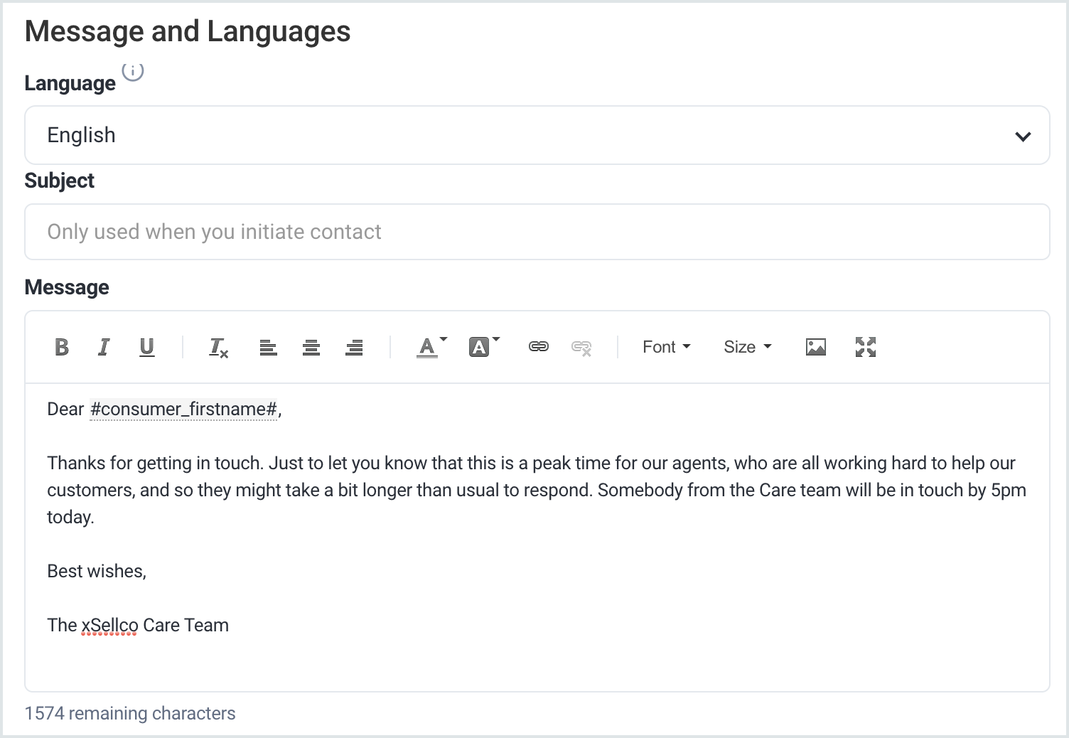 Message and Language fields