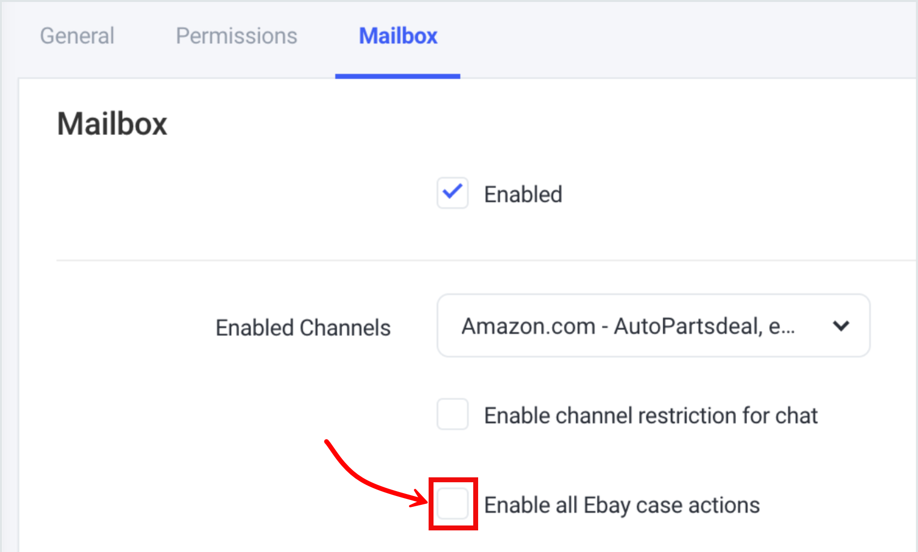 Enable eBay Case Actions checkbox in Mailbox